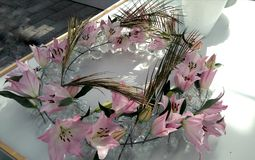 Beautiful decoration with pink lilies Stock Photo