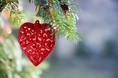 Beautiful decoration in the shape of red brilliant heart Royalty Free Stock Photography