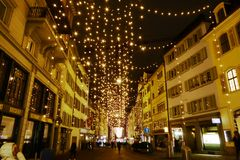 Beautiful decoration on street for Christmas` Eve stock photo