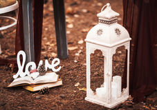 Beautiful decoration for the wedding table on the nature Royalty Free Stock Images