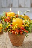 Beautiful Decoration With Candle And Autumn Plants. Stock Photography