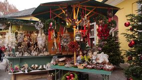 Christmas market at Schloss Hellbrunn, Salzburg, Austria. Beautiful decorations at the Christkindlmarkt in Salzburg Hellbrunn, Austria, Europe stock footage