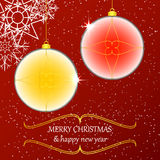 Beautiful decorations with christmas ball and red background Stock Photography