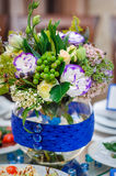 Beautiful decorations of flowers at the wedding table Stock Image
