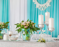 Beautiful decorations on  wedding table Royalty Free Stock Images
