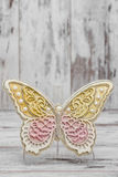 Beautiful Decorative Butterflies. On white wooden background Royalty Free Stock Images