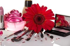 Beautiful decorative cosmetics with a flower Royalty Free Stock Image