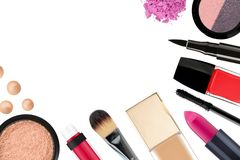 Beautiful decorative cosmetics and makeup brushes, isolated on w Stock Image