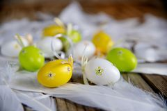Decorative easter eggs with white feathers on wooden background royalty free stock images