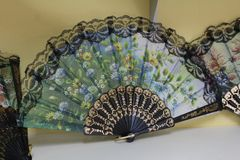 Beautiful souvenir fan on the market in Thailand stock photos