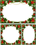 Beautiful decorative frames, garlands of holly Stock Photos