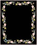 Beautiful decorative framework with flowers. Greet. Ing card with forget-me-not end rose Stock Photography