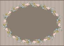 Beautiful decorative framework with flowers. Greet. Ing card with forget-me-not end rose Royalty Free Stock Image