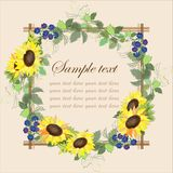 Beautiful decorative framework with a sunflower an Stock Photo
