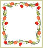 Beautiful decorative framework with tulips, lily o. F the valley and forget-me-not Stock Photography
