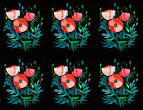 Beautiful decorative graphic bright pattern of red poppies with leaves and heads. Watercolor hand sketch Royalty Free Stock Photo