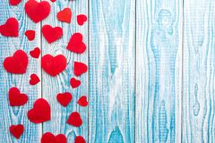 Beautiful decorative hearts on wooden background. Valentine`s day. mother`s day. I love you.  royalty free stock image