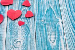 Beautiful decorative hearts on wooden background. Valentine`s day. mother`s day. I love you.  royalty free stock photos