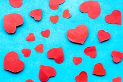 Beautiful decorative hearts on wooden background. Valentine`s day. mother`s day. I love you.  royalty free stock photo