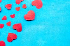 Beautiful decorative hearts on wooden background. Valentine`s day. mother`s day. I love you.  stock photo
