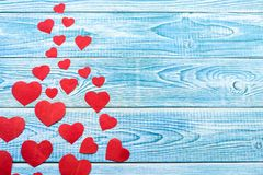 Beautiful decorative hearts on wooden background. Valentine`s day. mother`s day. I love you.  stock image