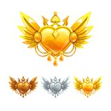Beautiful decorative metal heart icons set. Vector bronze, silver and golden assets for web or game design Stock Image
