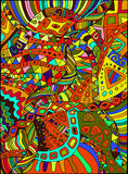 Beautiful, decorative, psychedelic hippie background. Vector han. D drawn illustration Stock Images