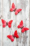 Beautiful Decorative Red butterflies on White Wooden Background Stock Photography
