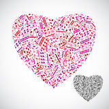 Beautiful decorative vector heart filled with musical notes isol Stock Photography