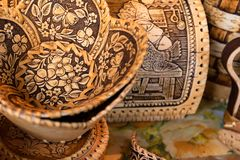 Wooden Russian souvenirs made of birch bark close up stock photography