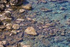 Beautiful Deep blue sea and rocks in Greece Stock Image