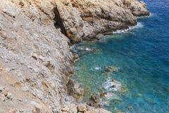 Beautiful Deep blue sea and rocks in Greece Royalty Free Stock Photos