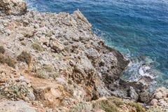 Beautiful Deep blue sea and rocks in Greece Royalty Free Stock Image