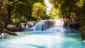 Beautiful deep forest blue stream waterfalls in national park of Thailand Royalty Free Stock Photo
