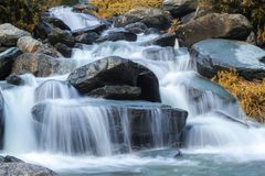 Beautiful Deep Forest Waterfall View stock photography