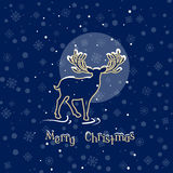 Beautiful deer christmas night silhouette reindeer vintage Royalty Free Stock Photo