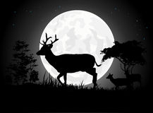 Beautiful Deer silhouettes with giant moon background Royalty Free Stock Photo
