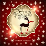 Beautiful deer and snowflakes on a red background with lights. Stock Image