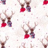Beautiful deer wearing winter scarves seamless vector print. Beautiful deer couple wearing winter scarves seamless vector print Royalty Free Stock Image