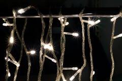 Beautiful defocused LED lights with warm tone background. stock image