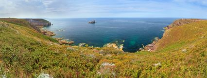 Cap Frehel panorama coast Royalty Free Stock Photo