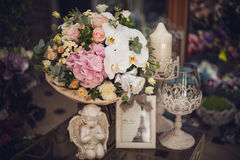 Beautiful delicate bouquet on the table. floral theme. white and pink Royalty Free Stock Photo