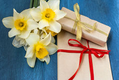 Beautiful delicate daffodils  and card Stock Image