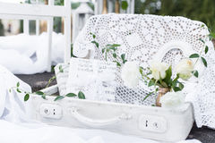 Beautiful delicate items and interior decoration for home and decorating photo zone, frames, beads, bottles, bags and boxes, flowe Royalty Free Stock Image