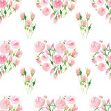 Beautiful delicate tender cute elegant lovely floral colorful spring summer pink and red roses with buds and leaves bouquet Royalty Free Stock Image