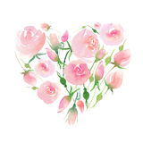 Beautiful delicate tender cute elegant lovely floral colorful spring summer pink and red roses with buds and leaves bouquet like a. Heart watercolor hand Stock Photos