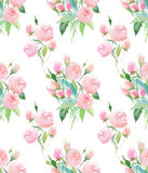 Beautiful delicate tender cute elegant lovely floral colorful spring summer pink and red roses with buds and leaves bouquets patte. Rn watercolor hand Royalty Free Stock Photo