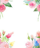 Beautiful delicate tender cute elegant lovely floral colorful spring summer pink and red roses with buds and yellow blue purple wi. Ldflowers and leaves bouquets stock illustration