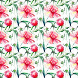 Beautiful delicate tender cute lovely floral colorful spring summer pink, red, orange peonies with green leaves and buds pattern Royalty Free Stock Photography