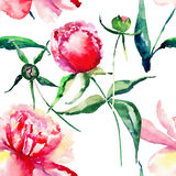 Beautiful delicate tender cute lovely floral colorful spring summer pink, red, orange peonies with green leaves and buds pattern Stock Image